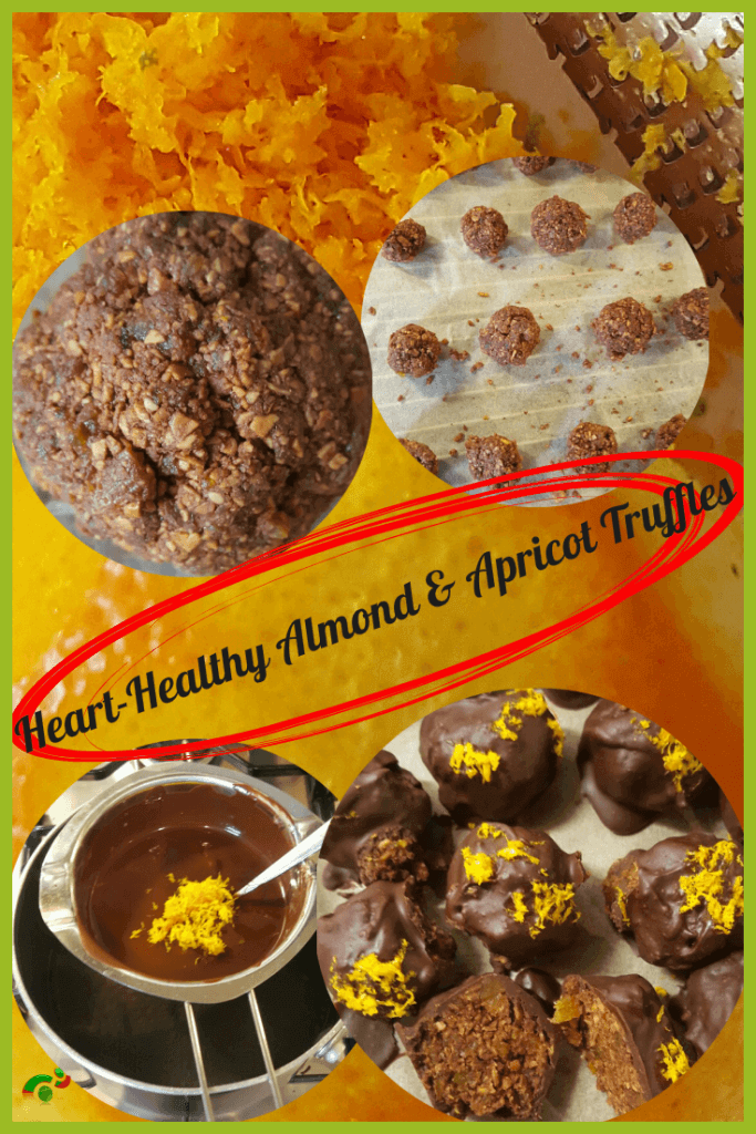 healthy almond and apricot dark chocolate truffles
